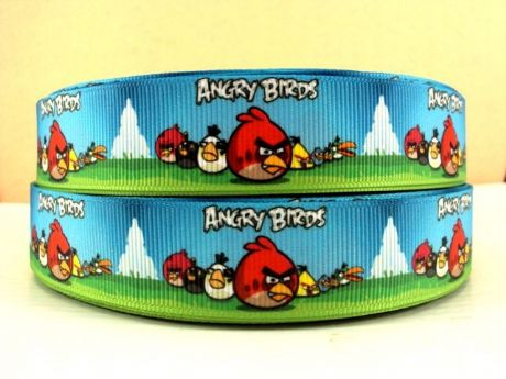 1 METRE ANGRY BIRDS RIBBON 7/8 HAIR BOWS HEADBANDS BABY CLIPS BIRTHDAY CAKE